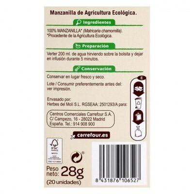 Manzanilla - Información nutricional - es