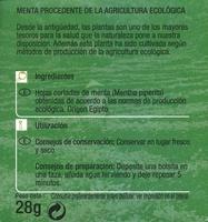 Menta - Información nutricional