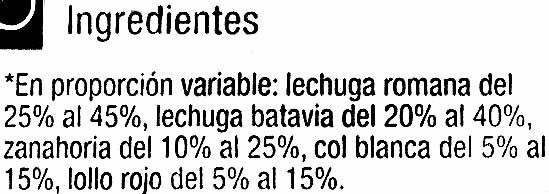 Ensalada Línea - Ingredients