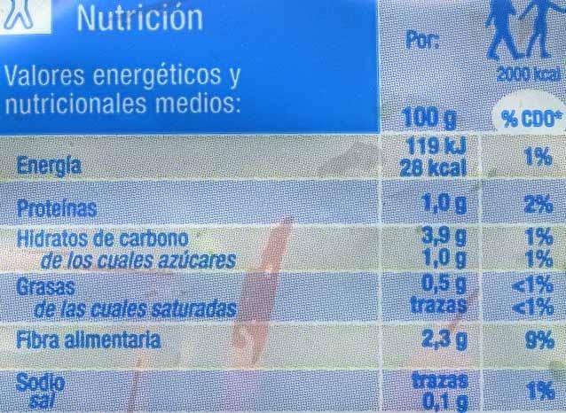 Ensalada Línea - Información nutricional - es