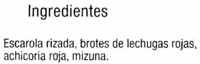 Ensalada Mezclum - Ingredientes
