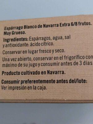 Espárrago 6/8 - Ingredientes - es