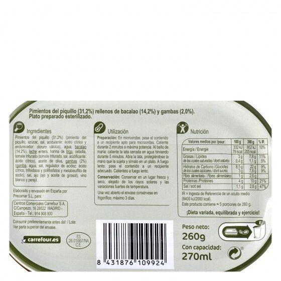 Pim rell bac - Información nutricional - es