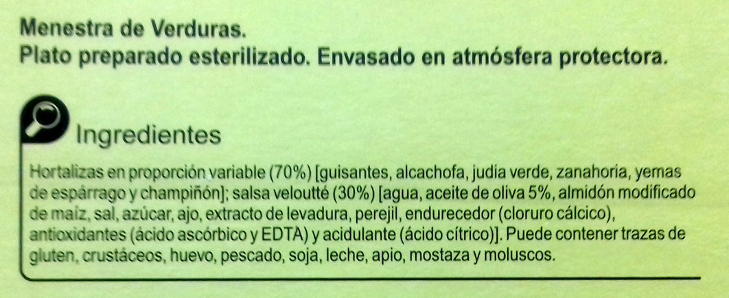 Menestra de verduras - Ingredients - es
