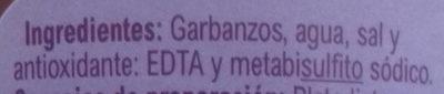 Garbanzos cocidos - Ingredients - es