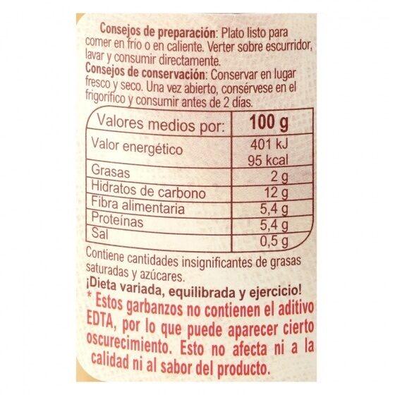 Garbanzos cocidos - Nutrition facts - es