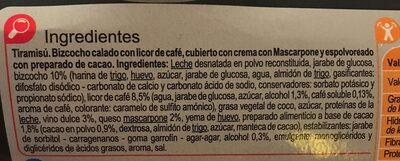 Tiramisú - Ingredientes