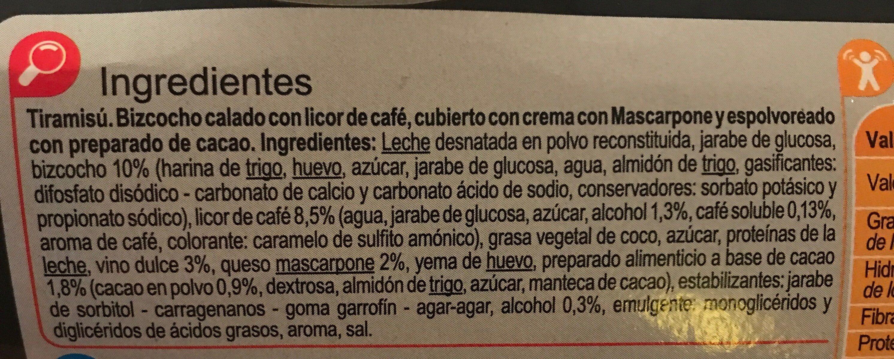 Tiramisú - Ingredientes - es