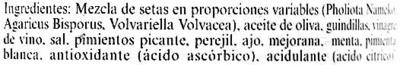 """Mezcla de setas aliñadas en conserva """"Carrefour Selección"""" - Ingredientes"""