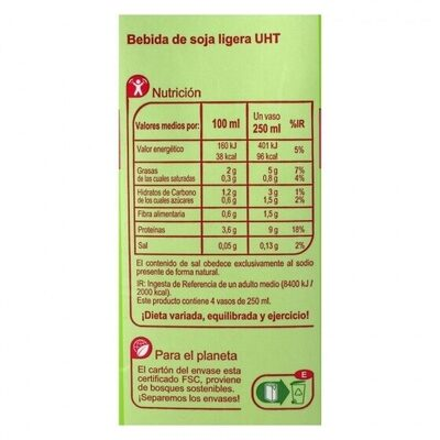 Bebida soja natural - Nutrition facts - es