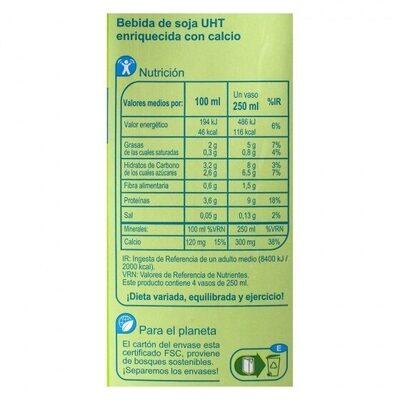 Bebida soja enriquecida calcio - Nutrition facts - es