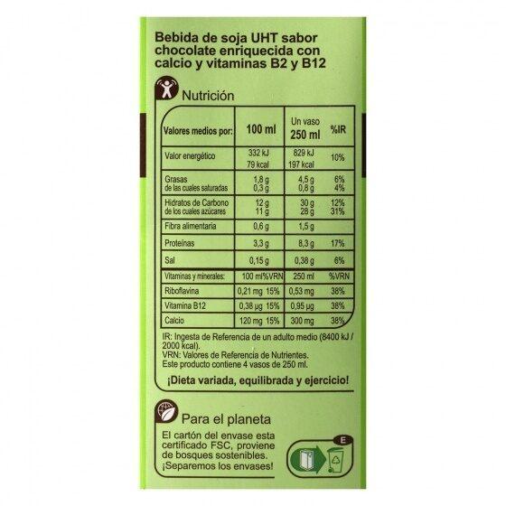 Bebida soja chocolate - Información nutricional - es