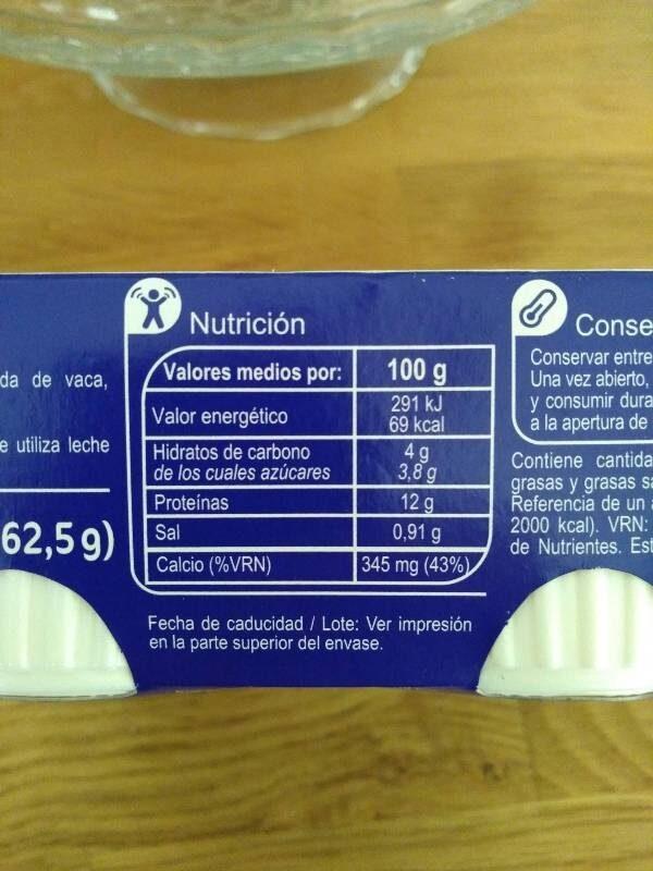 Queso fresco 0% - Información nutricional - es