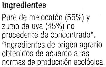 """Zumo de melocotón y uva ecológico """"Carrefour Bio"""" - Ingredients"""