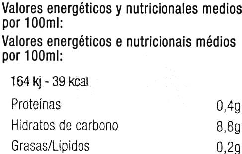 """Zumo de melocotón y uva ecológico """"Carrefour Bio"""" - Informació nutricional"""