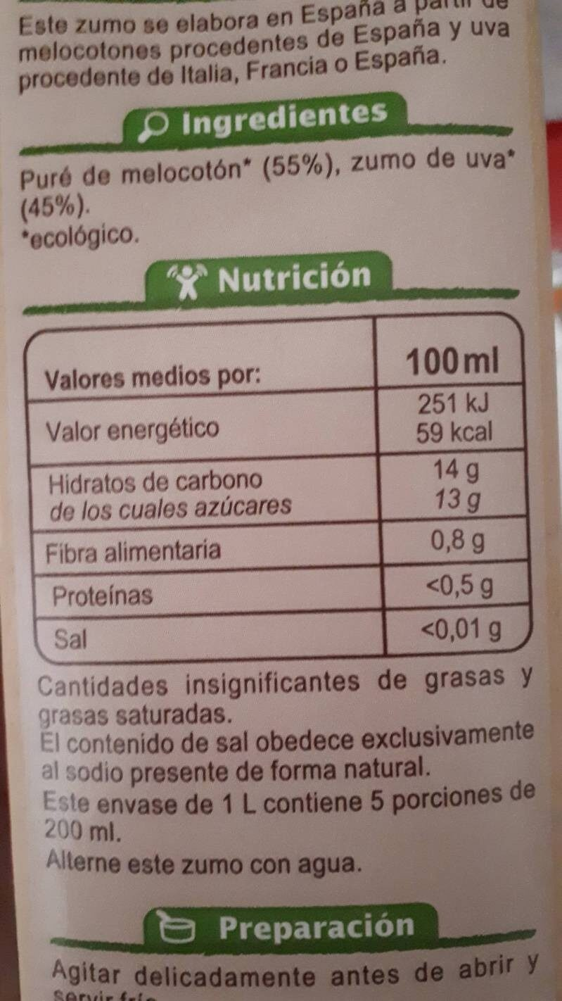 Zumo de melocotón y uva - Nutrition facts - es