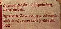 Garbanzos b/sal - Ingredients - es