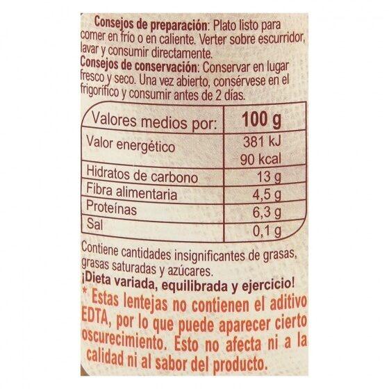 Lentejas Cocidas Sin Sal Añadida - Información nutricional - es