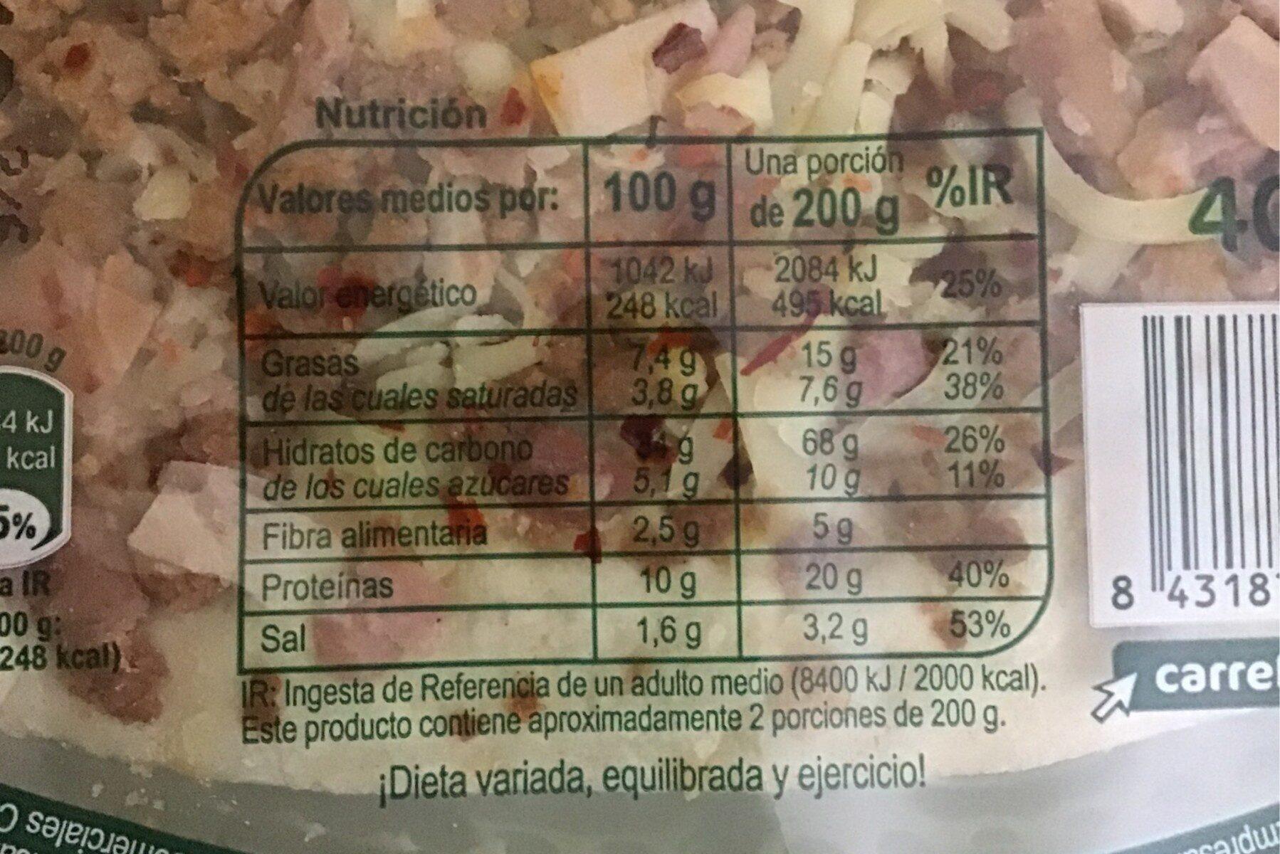 Pizza Barbacoa - Informations nutritionnelles - es