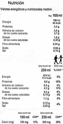 Bebida de soja - DESCATALOGADO - Información nutricional