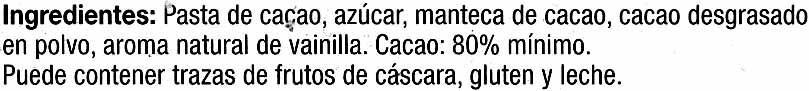 Selección - Chocolate negro 80% cacao - Ingredientes - es