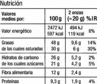 Selección - Chocolate negro 80% cacao - Información nutricional - es