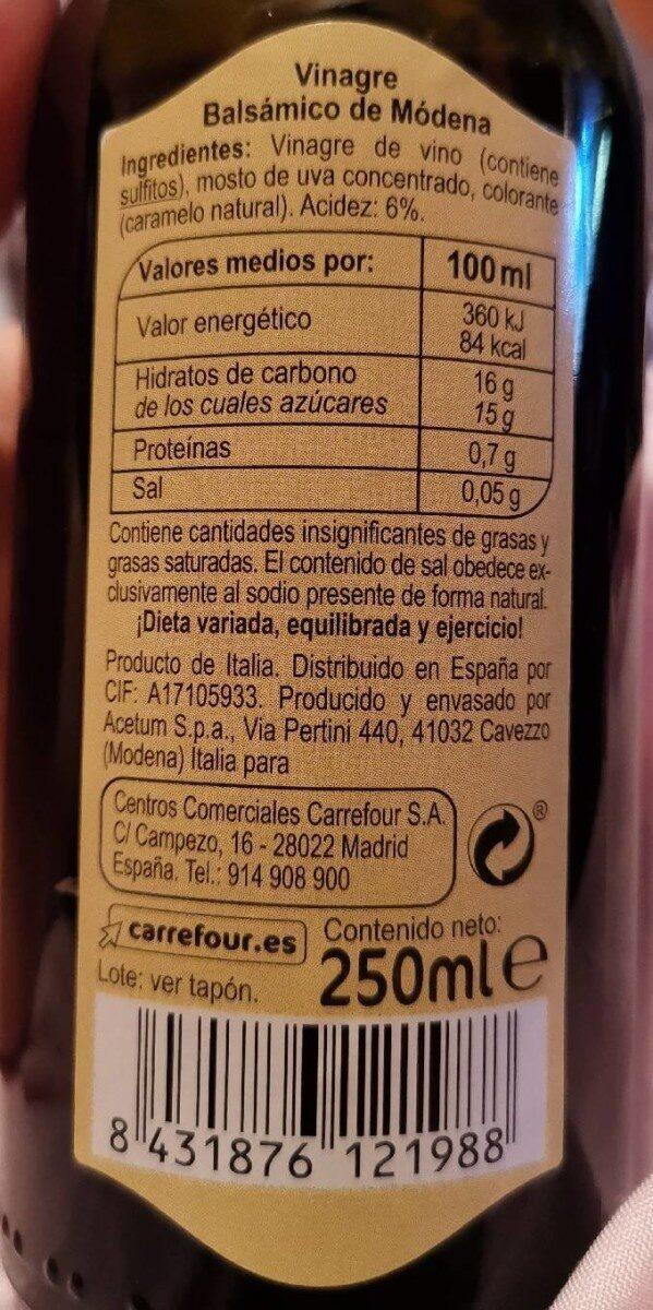 Vinagre balsamico de modena spray - Nutrition facts - es