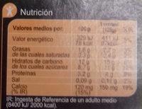 Especialidad vegetal Soja Frutos rojos - Información nutricional