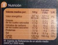 Especialidad vegetal soja frutas amarillas - Informations nutritionnelles