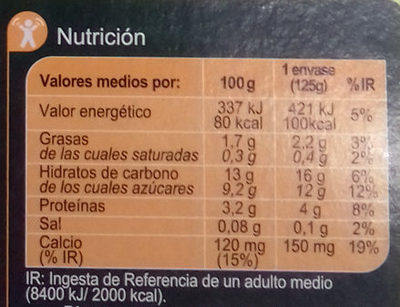 Especialidad vegetal soja frutas amarillas - Información nutricional