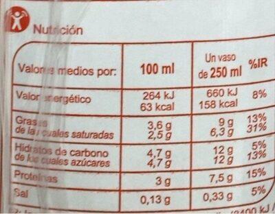 Leche UHT Entera - Valori nutrizionali - es