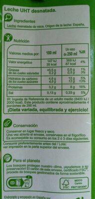 Leche desnatada - Valori nutrizionali - es