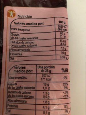 Nueces sin cáscara - Informació nutricional