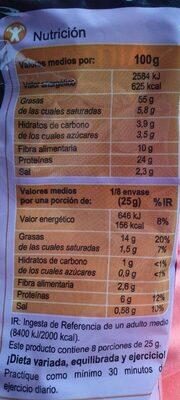 Almendra con piel tostada y salada - Información nutricional