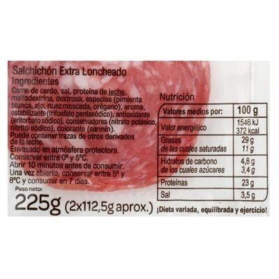 Salchichón extra loncheado - Informació nutricional - es