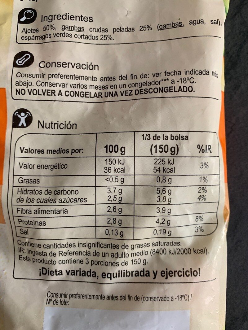 Mezcla de ajetes, gambas y espárragos verdes - Nutrition facts - es