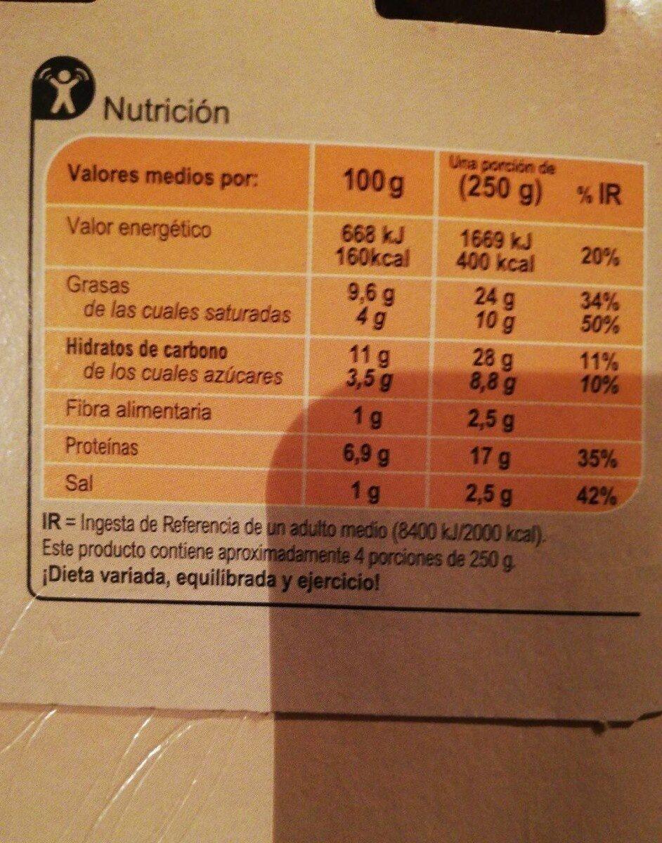 Lasaña carne - Valori nutrizionali - es
