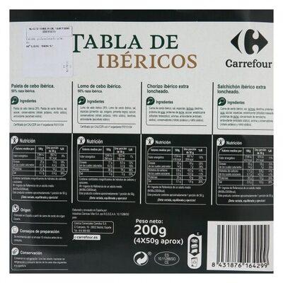 Tabla ibéricos (paleta+lomo+chorizo+salchichón) - Informació nutricional
