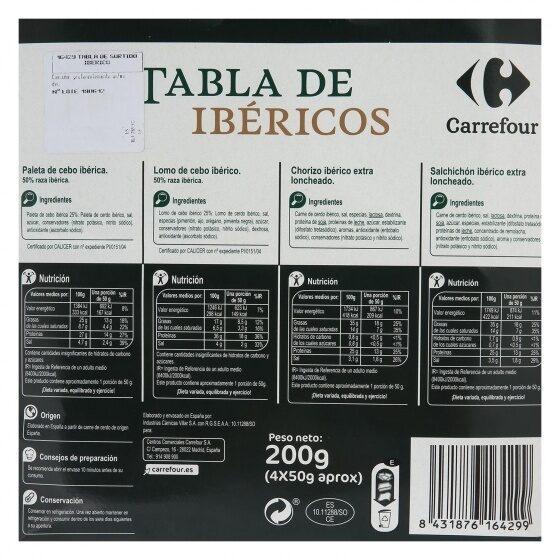 Tabla ibéricos (paleta+lomo+chorizo+salchichón) - Informació nutricional - es