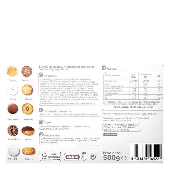 Surtido de pastas - Informació nutricional - es