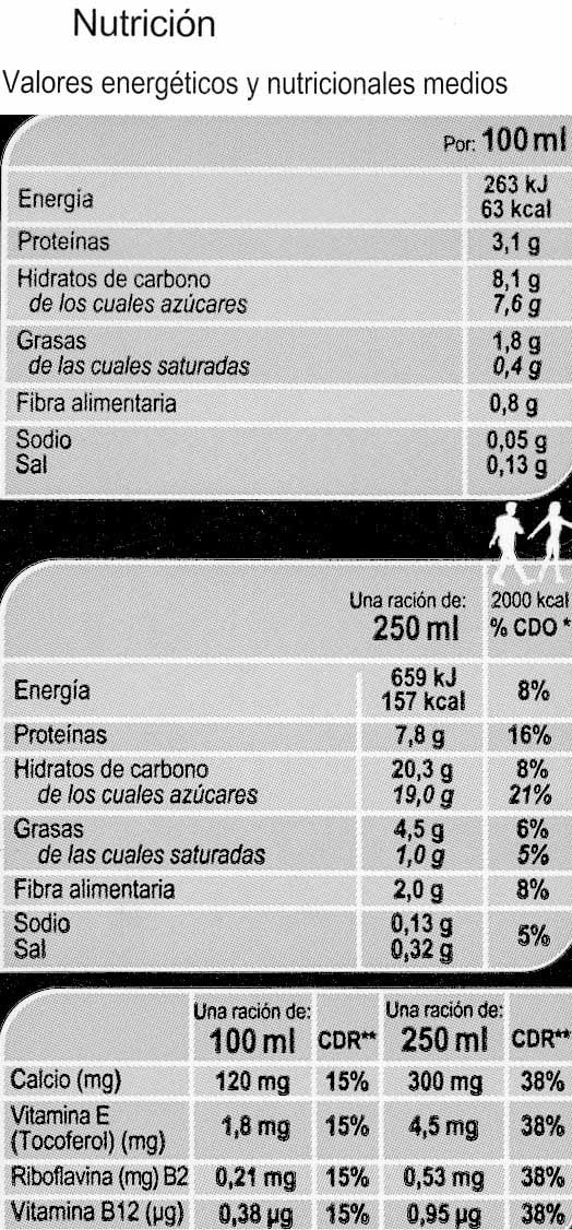 Bebida de soja con cacao - DESCATALOGADO - Información nutricional - es