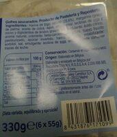 Gofre azucarado - Información nutricional - es
