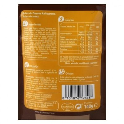 Salsa 4 quesos - Informations nutritionnelles - es