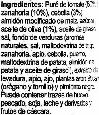 """Salsa napolitana """"Carrefour"""" - Ingredientes - es"""