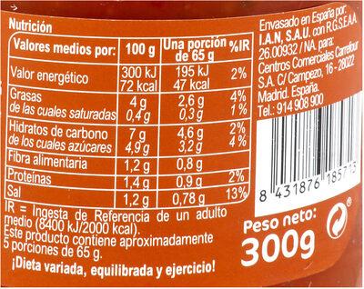 Salsa piamontesa - Información nutricional - es