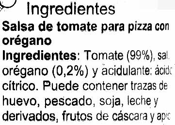 Salsa Pizza - Ingredientes - es