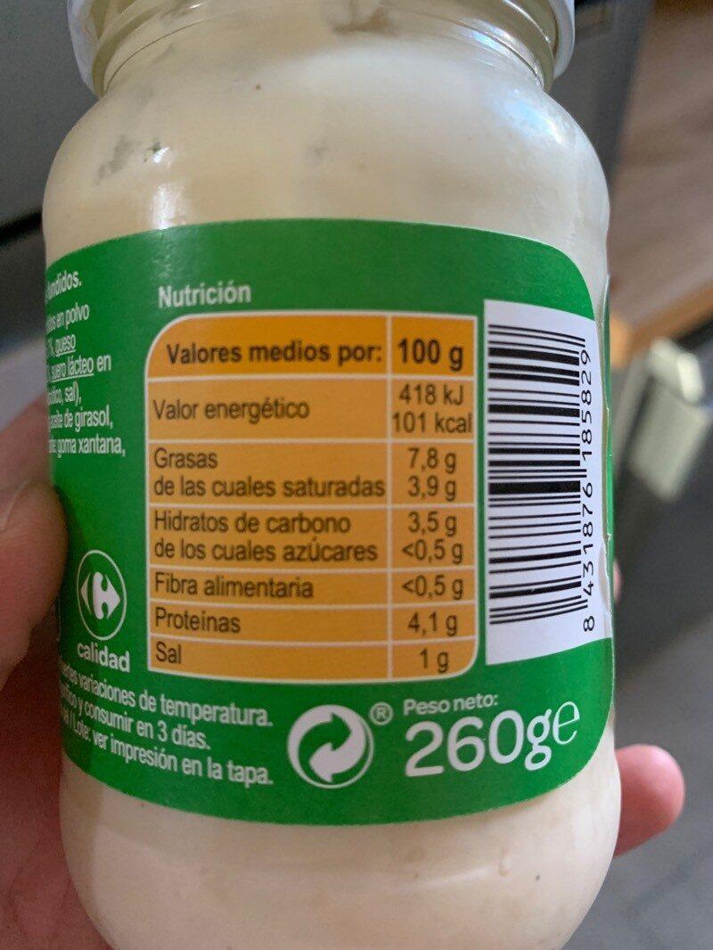 Salsa para pasta 3 quesos - Informació nutricional