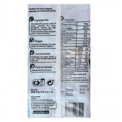 Tortita arroz integral choco - Informations nutritionnelles - es
