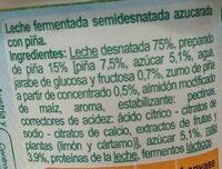 Yogurt piña con trozos de fruta - Ingredients