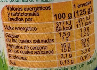 Yogurt piña con trozos de fruta - Nutrition facts